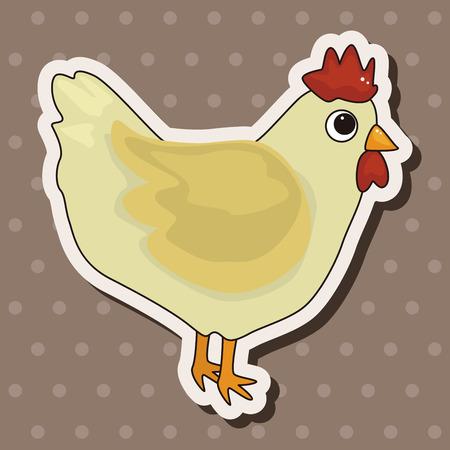 animal cock: Elementos del tema de dibujos animados gallo animales