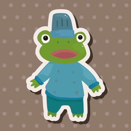 animal frog chef cartoon theme elements Vector