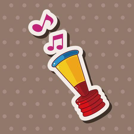 birthday horn theme elements Vector