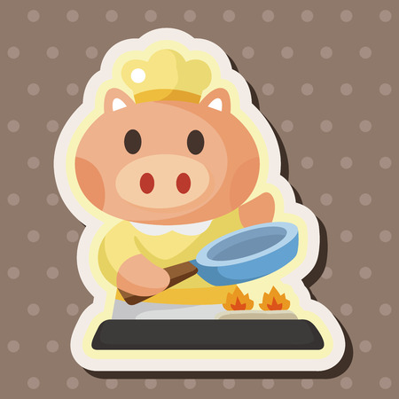 animal pig chef cartoon theme elements Vector