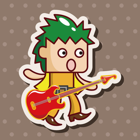 guitar player: band member guitar player theme elements Illustration