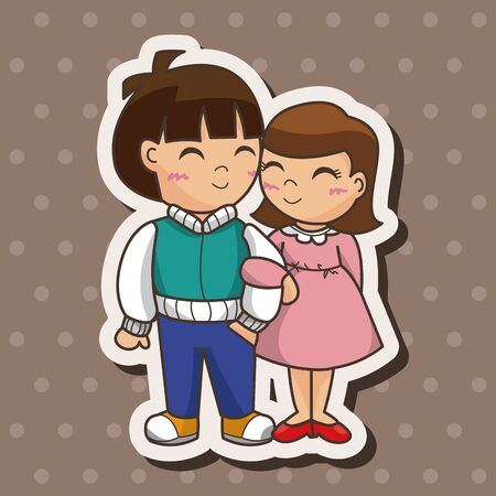 young couple: Valentines day couple theme elements Illustration