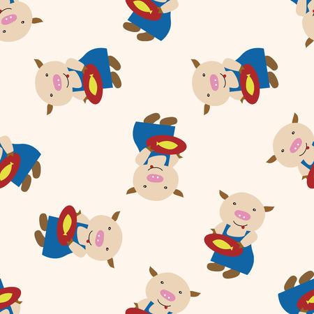 three little pigs: Three Little Pigs , cartoon seamless pattern background