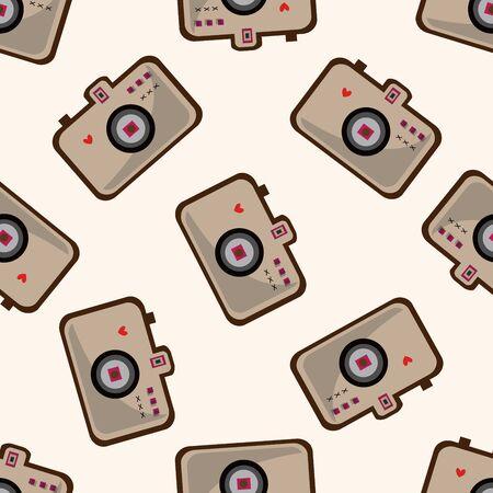 camera , cartoon seamless pattern background Vector