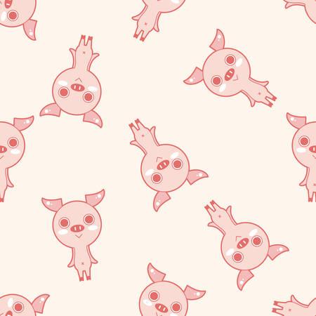 Historieta del cerdo de animales, dibujos animados patrón de fondo sin fisuras Foto de archivo - 39460523