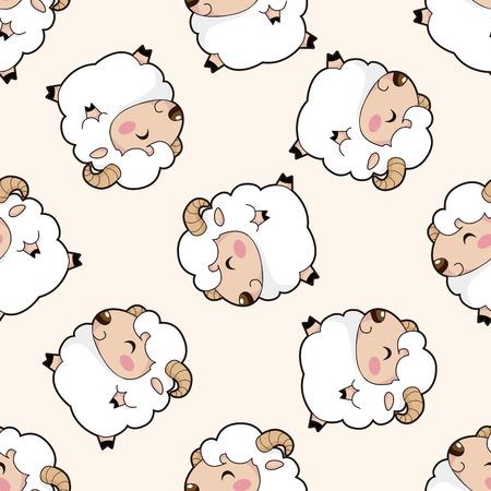 Animal del dibujo animado de ovejas, de dibujos animados patrón de fondo sin fisuras Foto de archivo - 39460536