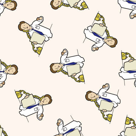 Office workers , cartoon seamless pattern background Vector