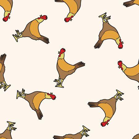 animal cock: animal cock cartoon , cartoon seamless pattern background Illustration
