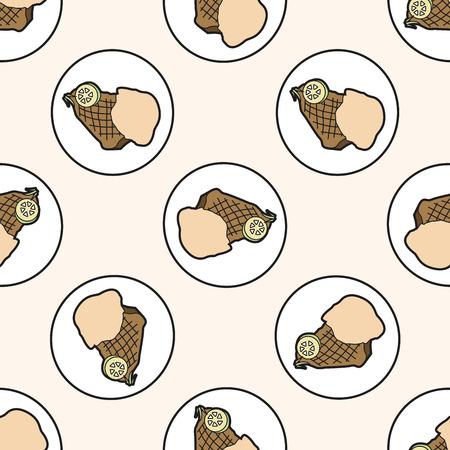 c�telette de porc: viande de steak, bande dessin�e seamless fond Illustration