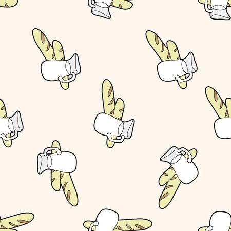 paris bread and milk , cartoon seamless pattern background Vector