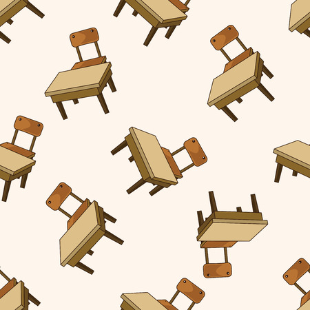 classroom desk and chair , cartoon seamless pattern background Vector