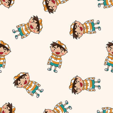 schoolkid: family boy character , cartoon seamless pattern background