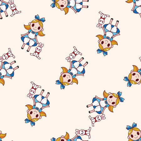 fairytale princess , cartoon seamless pattern background Vector