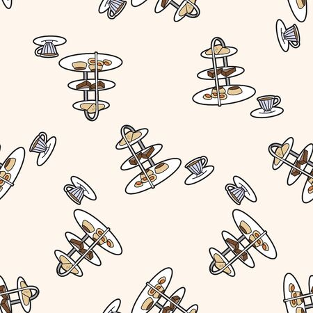 afternoon fancy cake: English Afternoon Tea , cartoon seamless pattern background