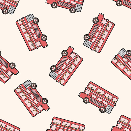Double-decker bus , cartoon seamless pattern background Vector