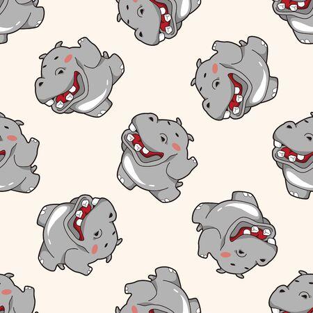 hippo cartoon: animal hippo cartoon , cartoon seamless pattern background