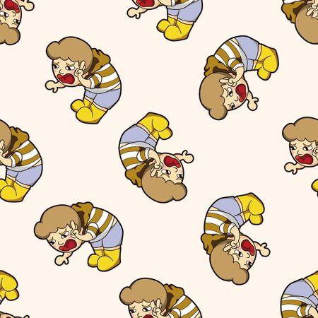 boy man cartoon , cartoon seamless pattern background Vector