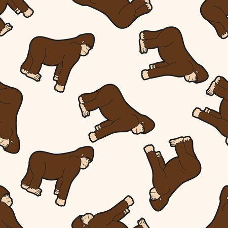 Animales gorila de dibujos animados, dibujos animados patrón de fondo sin fisuras Foto de archivo - 39463775