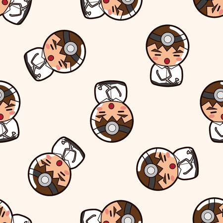 person character docter , cartoon seamless pattern background Vector