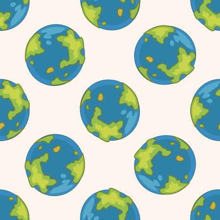 the mainland: Space earth , cartoon seamless pattern background Illustration