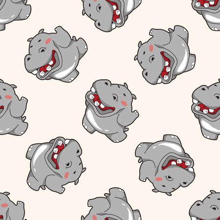 hipopotamo caricatura: animales hipop�tamo de dibujos animados, dibujos animados patr�n de fondo sin fisuras