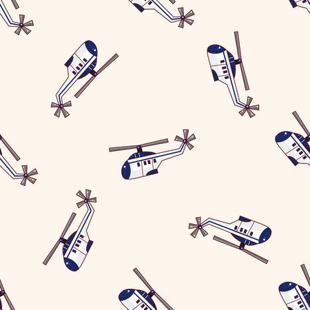 helicopter , cartoon seamless pattern background Vector