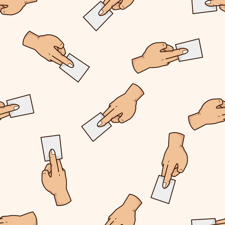 hand holding paper: hand holding paper , cartoon seamless pattern background Illustration