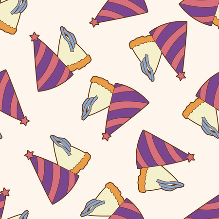 new year's cap: birthday hat , cartoon seamless pattern background Illustration