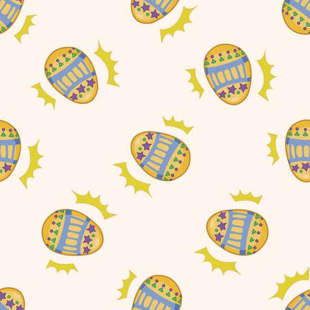 egg cartoon: huevo de Pascua de la pintura, de dibujos animados patr�n de fondo sin fisuras Vectores