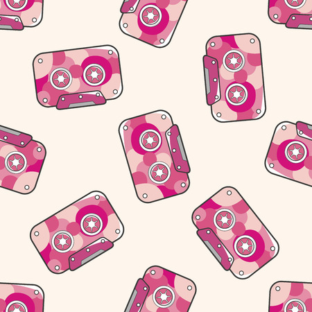 Audiotape , cartoon seamless pattern background Vector