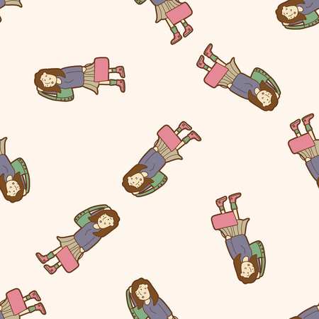 shopper: shopper theme,emets , cartoon seamless pattern background Illustration