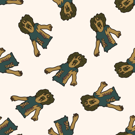 zombie , cartoon seamless pattern background Vector