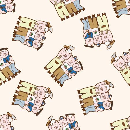 piglets: Three Little Pigs , cartoon seamless pattern background