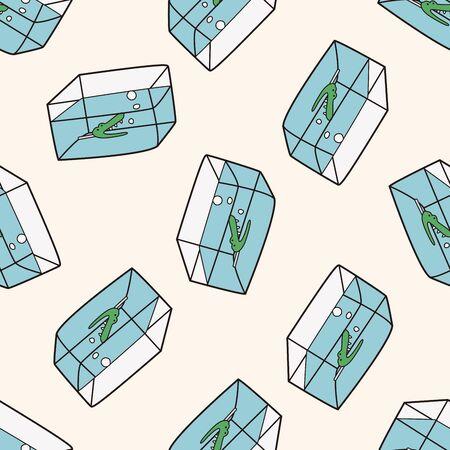 fish bowl: Pet fish bowl 10, cartoon seamless pattern background Illustration