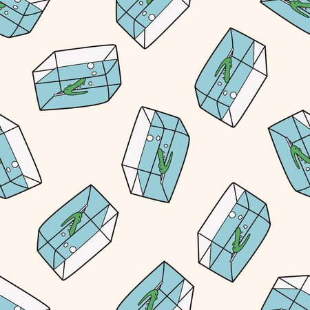 Pet fish bowl 10, cartoon seamless pattern background Illustration