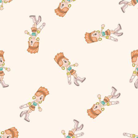 supermarket shopper: shopper theme,emets , cartoon seamless pattern background Illustration