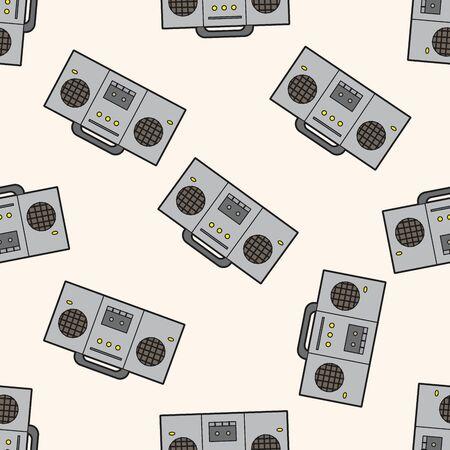 grabadora: la música rock grabador de sonido, dibujos animados patrón de fondo sin fisuras