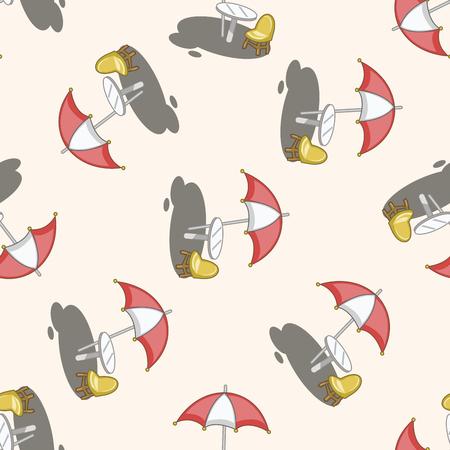 Parasol lounge , cartoon seamless pattern background Vector
