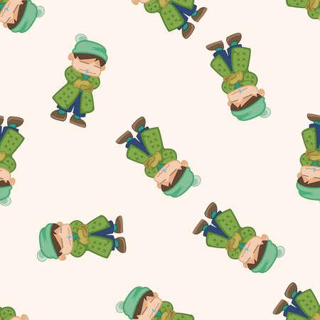 running nose: People winter , cartoon seamless pattern background Illustration