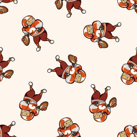 touchdown: football player , cartoon seamless pattern background