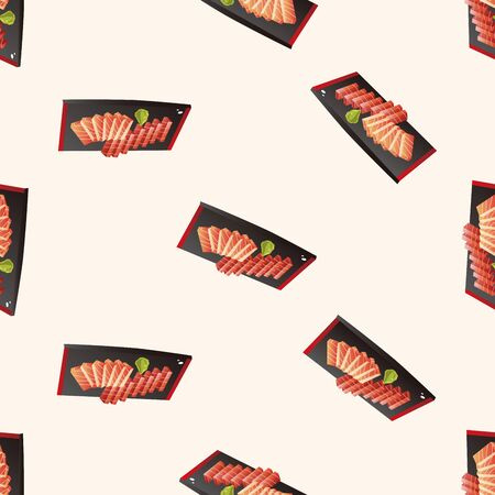 sashimi: japanese food theme Sashimi , cartoon seamless pattern background Illustration