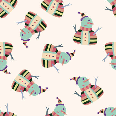 snowman cartoon , cartoon seamless pattern background Vector