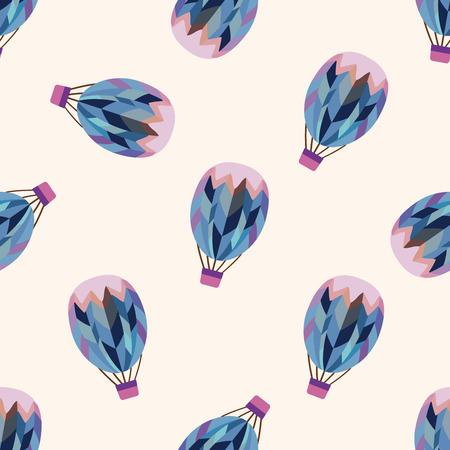 뜨거운 공기 풍선 디자인, 만화 원활한 패턴 배경