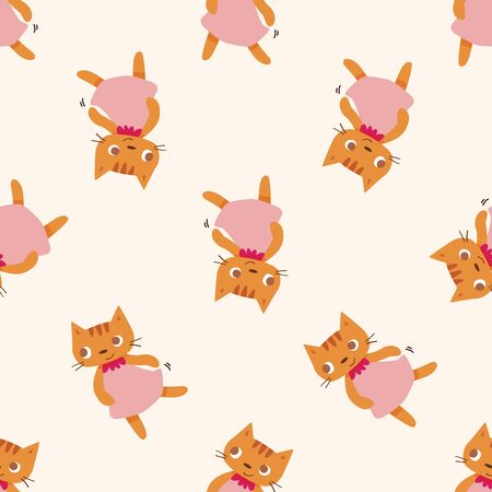animales del zoo: dibujo animado del gato animal, dibujo animado fondo sin patrón