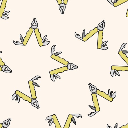 pincers: work tool wrench , cartoon seamless pattern background Illustration