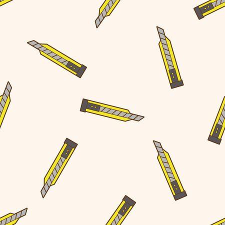 utility knife: stationary utility knife , cartoon seamless pattern background