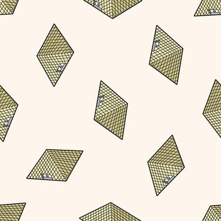 moulin: Louvre , cartoon seamless pattern background