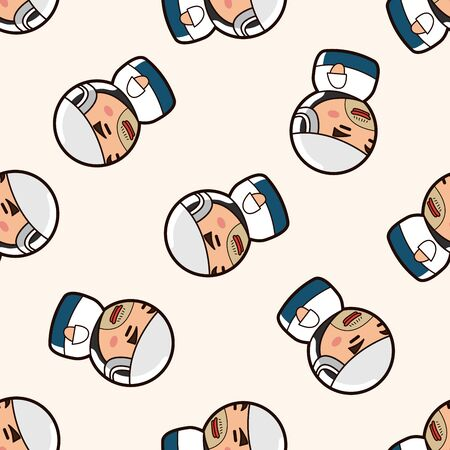 person character worker , cartoon seamless pattern background Vector