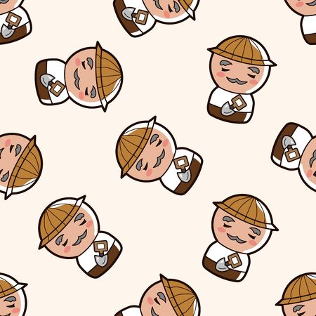 person character farmer , cartoon seamless pattern background Vector