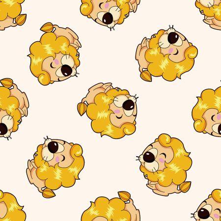 Animales León de dibujos animados, dibujos animados patrón de fondo sin fisuras Foto de archivo - 40410895